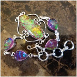 """Jewelry - AMAZING Australian Pink Triplet Opal Bracelet 8.5"""""""